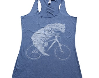 Polar Bear on a Bicycle -  Womens Tank Top, Ladies Tank, Slouchy, Handmade graphic tank, sizes s-xL