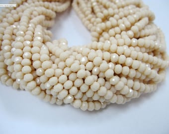 90 pcs 4x6mm faceted crystal rondelle ivory color beads