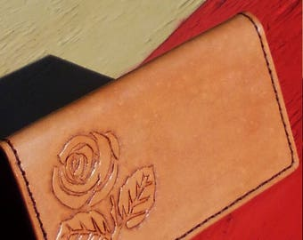 Leather Rose Checkbook
