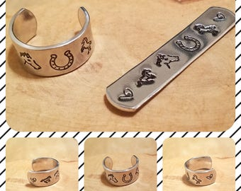 Giddyup horse 1/2 inch width hand stamped and polished adjustable size aluminum thumb ring perfect for any equestrian