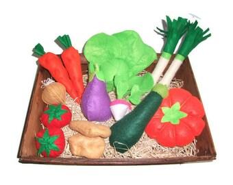 Set of 15 vegetables felt for dinette or market
