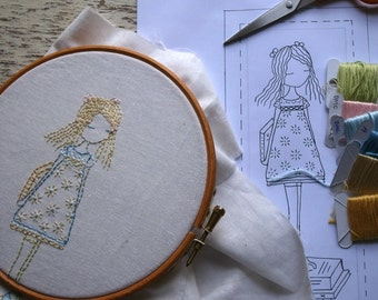 little reader bookmark embroidery pattern PDF