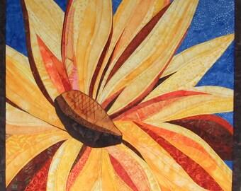 Art Quilt Yellow Flower 5, Wall Hanging, Wall Quilt