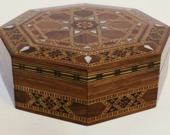 Wooden Jewelry Box, Multipurpose Storage Box, Wood Inlay, Syrian mosaic box, inlaid wood, wood box, mother of pear, wooden home decor
