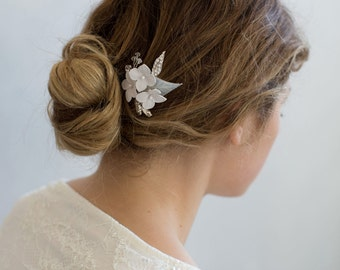 Bridal clay flower hair pins - Cloud burst petite blossom pin - Style 770 - Made to Order