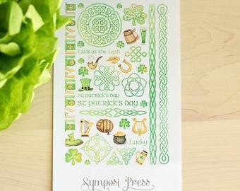St Patrick's Day ~ Celtic Watercolor Planner Stickers (Inkwell Press, Erin Condren, Plum Paper, Fliofax, Kikki K, Happy Planner)