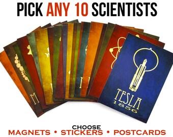 Set of Science Postcards, Fridge Magnets, or Vinyl Stickers - Scientist Art - Science Stationary - Teacher Gift - Laptop Decal - Magnet Set