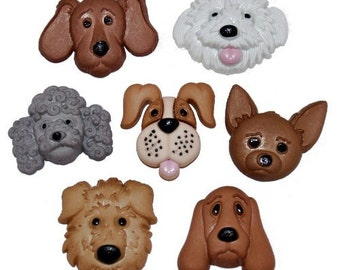 7 Detailed Dog Face Buttons