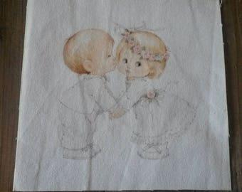 Fabric tile 15 X 15 cm / sew or glue / illustration babies