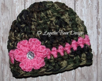 Chunky camo baby hat - photo prop - camo baby girl hat - camo baby hat - camo photo prop - baby shower gift -  made to order