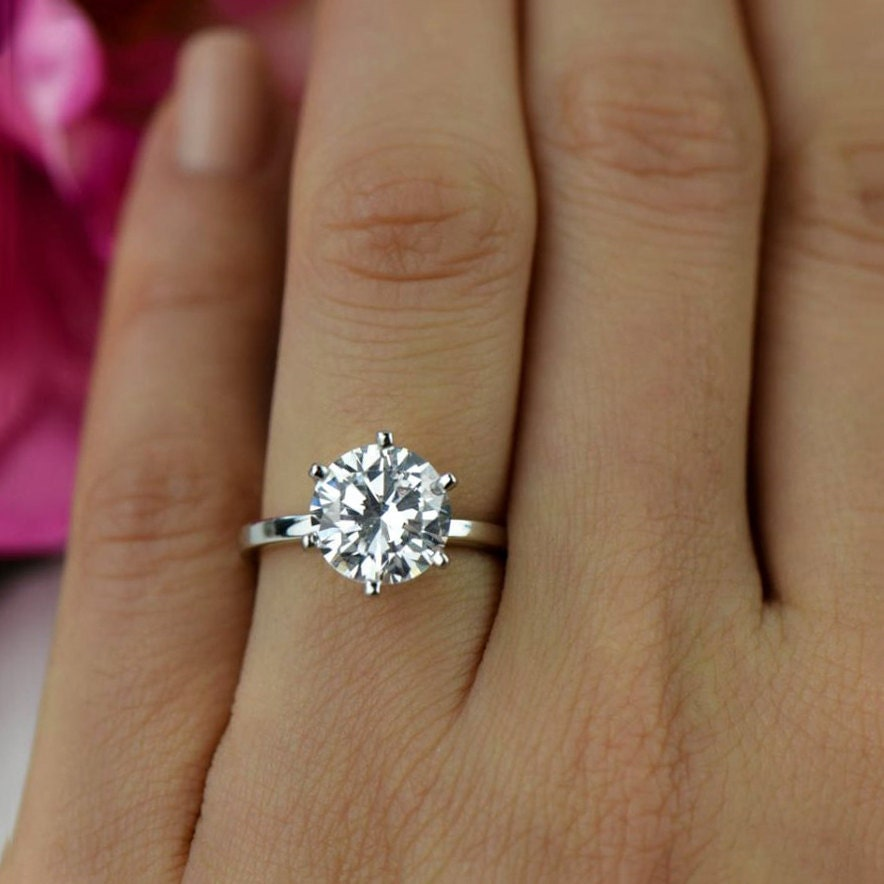 Sale 3 ct round solitaire engagement ring classic bridal zoom junglespirit Choice Image