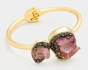 Quartz and Druzy Cuff Bracelet