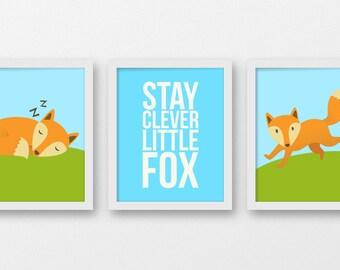 stay clever little fox art prints, fox nursery decor, forest animals wall art, woodland decor nursery, fox decor, kids art, nursery decor