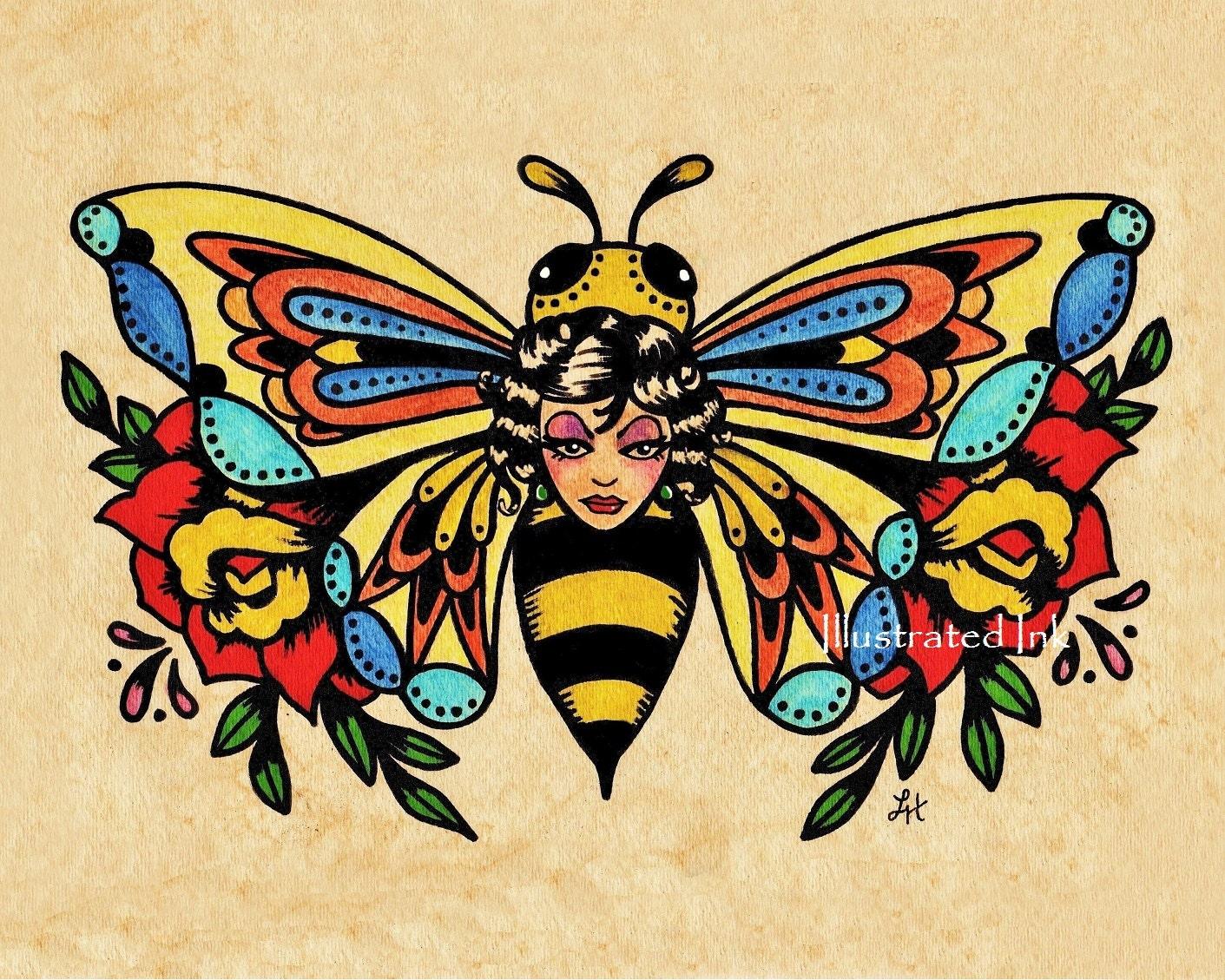Old School Tattoo Art BEE Beauty Butterfly Print 5 x 7 8 x 10