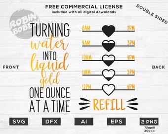 Turning Water Into Liquid Gold Tracker svg dxf eps png Files for Cutting Machines Cricut, Fitness, Working Out, Gym Designs,Water Bottle svg