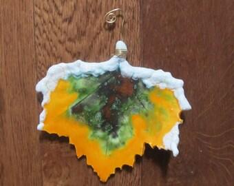 Handmade ceramic sycamore leaf