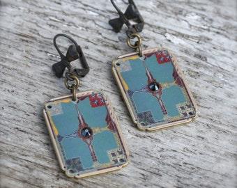 Deco Aqua Earrings - Art Deco Earrings - Shrink Plastic - Aqua Earrings - Art Deco - Art Deco Jewelry - Rhinestones - Aqua - Matching