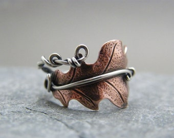 Adjustable copper oak leaf ring with sterling silver band ~ Mixed metal ring ~ Two tone ring ~ Wire wrapped ~ Gift for bohemian girlfriend