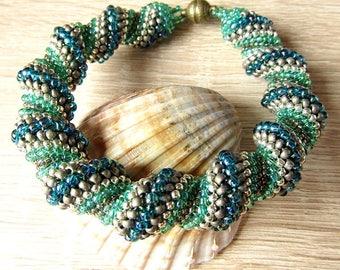 Green Spiral Bracelet Cellini  Woven Bracelet Beaded Bracelet Handmade Jewelry Bracelet Seed Bead Bracelet Wave Bracelet Redy to ship