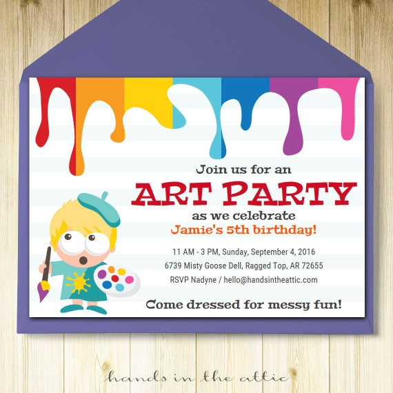 Art party invitation card template printable kids painting