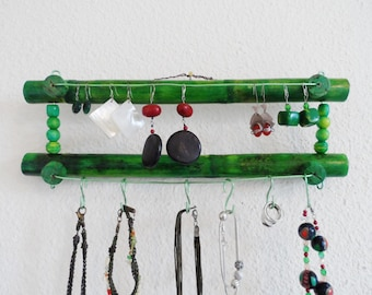 Green bamboo wall jewelry holder