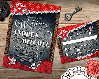 Rockabilly Wedding Invitation Set, Offbeat Wedding, Rockabilly Red and White Polkadot, Rockabilly Denim and Lace, DIY Rockabilly Wedding