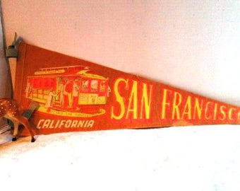 Large Vintage Pennant Souvenir San Francisco, California Cable Car Turntables Travel Tourist Trip, Upcycle Craft Family Vacation Canvas Flag