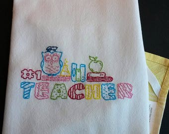 Embroidered tea towel teacher gift, hand embroidered kitchen towel, yellow kitchen decor