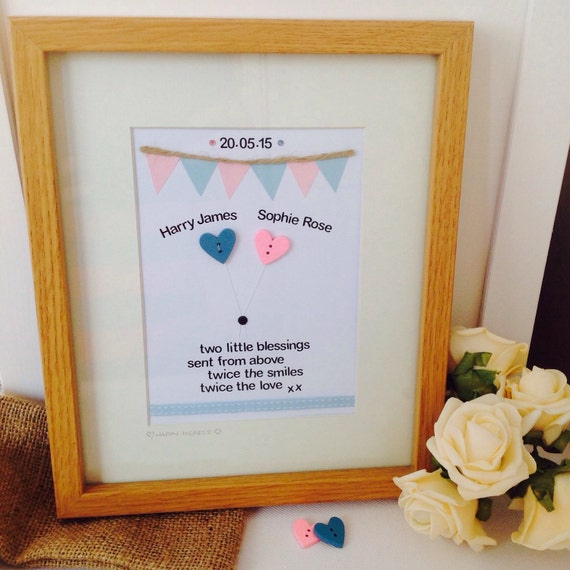 Personalised twin quote handcrafted frame personalised baby twin personalised twin quote handcrafted frame personalised baby twin frames personalised twin gifts from happyheartsdesignsuk on etsy studio negle Gallery