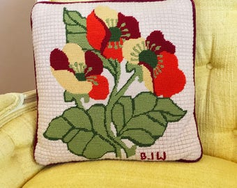 Vintage 1970s  Handmade Needlepoint Pillow Abstract Poppies Multicolor