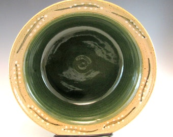 Pottery Serving Bowl/Green Pottery Serving Bowl/Medium Sized Serving Bowl