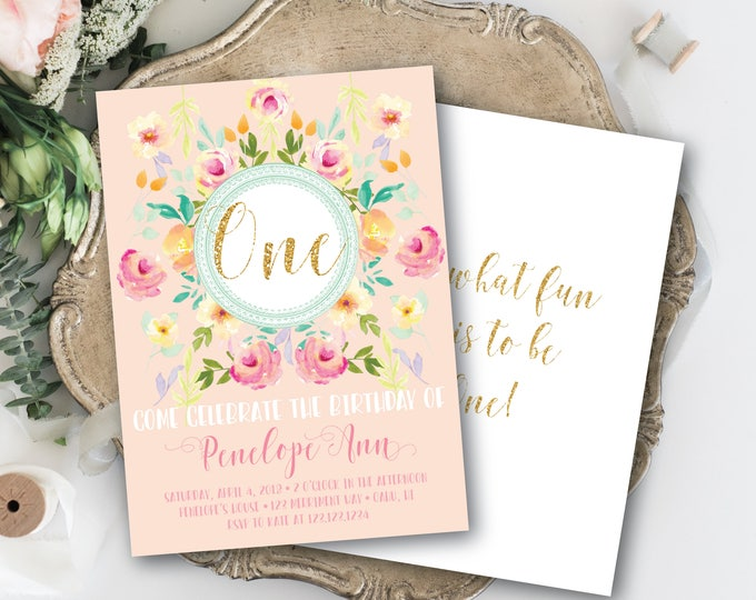 Pink, Mint First Birthday Invitation Gold Glitter One Pretty Watercolor Floral Invite Oh What Fun it is to be One / OAHU COLLECTION