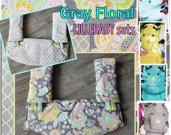3-Pc Hdrst Bib/Straight pads sets. Ergo 360 or Lillebaby carriers . Curved Pads upgrade available GRAY FLORAL/Pink vines/Teal quarterfoil