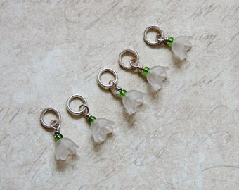 Snowdrops stitch marker set of 5 Spring Flowers
