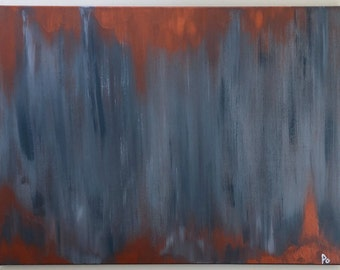 Abstract Blue Painting // Mental Health Art // Modern Abstract Art // Modern Abstract Painting  // Acrylic Art // Copper Painting // gift