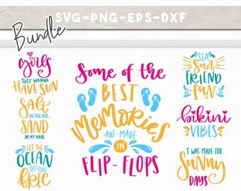 summer svg bundle, summer quotes cut files, beach clipart,  handlettered svg, dxf png, ocean fun bikini flipflop, iron on cricut downloads