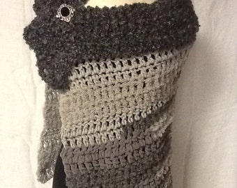 Crocheted Charcoal Off the Shoulder Wrap