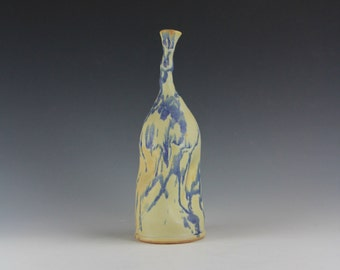 Cream Yellow & Blue Lavender Ceramic Bottle, Abstract Sculpture Artwork, Unique Clay Vessel Vase, Modern Home Decor, Torqued Bottle Series