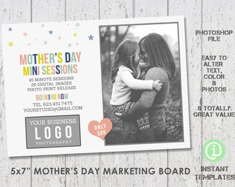 Mother's Day Mini Session Marketing Board , Photoshop Template - M1MD001