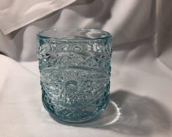 Vintage Pressed Glass Light Blue Starburst Triangles Celery Vase