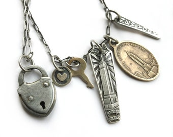 Vintage New York City NYC Empire State Building Tag Souvenir Charm Sterling Art Deco Silver Spoon Long Necklace Padlock Key Heart