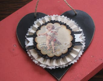 Vintage Inspired Valentine's Day Victorian Valentine Hanging Heart with Rosette