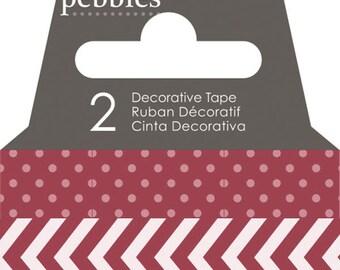 Pebbles Basics Dot & Chevron Washi Tape - Rouge -- MSRP 3.00