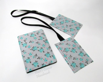 Handmade Passport cover with matching luggage tags - Small flowers on grey - Ready to ship - Travel set - gift ideas for her - birthday gift