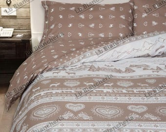 Winter quilt Duvet Val Gardena DOUBLEFACE-Made in Italy-cotton a thick texture-bed 1 square and half-brown