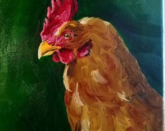 Original Rooster Oil Painting