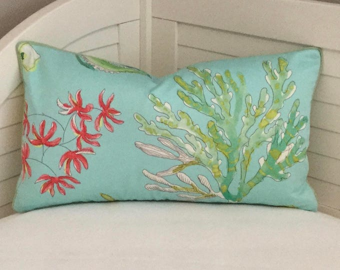 Coastal Designer Pillow in Blues, Greens and Coral Pillow Cover with Tiny Piping  - Square, Lumbar and Euro Sizes