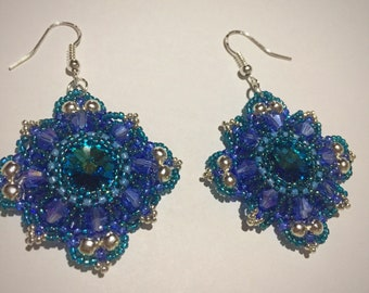 Rivoli beaded earrings