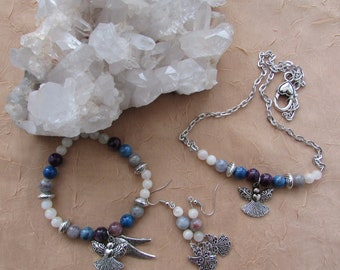 Gemstone Angel Jewelry - Intuitive Gifts Crystal Bead Jewelry Set