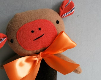 Monkey Plushie in Brown Velveteen and Tan Wool - Plush Stuffed Animal - Upcycled - Rustic - Cuddly